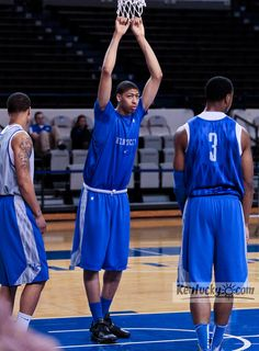 """Wildcats open practice... you know you're tall when...i bet my baby bro would cry if he knew a person existed that""""rests"""" on the net; only Cal's Cats can;) #BBN!"""