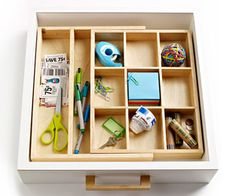 I need this drawer organizer! Kitchen Organization, Junk Drawer Organizing, Household Organization, Organization Hacks, Organizing Ideas, Organize Your Life, Declutter Your Home, Clutter Free Home, Better Homes And Gardens