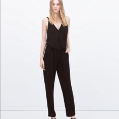 Zara Black Cotton Jumpsuit Romper Worn once on a trip, very flattering. Zara Pants Jumpsuits & Rompers