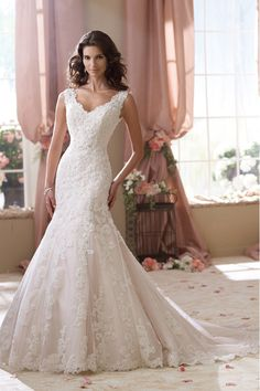 2014 V Neck Wedding Dress Mermaid/Trumpet With Applique Tulle Chapel Train