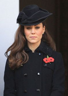 Kate Middleton on Remembrance Day...love the brunette curls :)