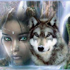 NEW Diamond Painting Woman And Wolf DIY Diamond Mosaic Diamond Embroidery Hand Made Diamond Painting Cross Stitch Wolf Spirit, Spirit Animal, Fantasy Wolf, Fantasy Art, Fantasy Gifts, Indian Wolf, Native American Wolf, American Indians, Wolves And Women