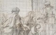 "Anton Raphaël MENGS - The picture of the Presentation of the Virgin in the Temple disappeared during World War II, when bombing the Royal Chapel of the Palace of Caserta, near Naples. This preparatory drawing is the only autograph trace. The esteem for the work by the Neapolitan Court facilitated the departure of Mengs, already celebrated as the ""new Raphael"" to Madrid, headquarters of the kingdom of Ferdinand IV. His career then took a truly international dimension."