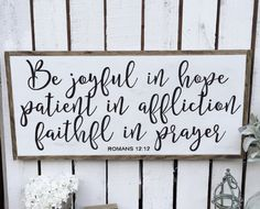 Be joyful in hope wood sign/Home by WoodandWhimsyDesigns on Etsy