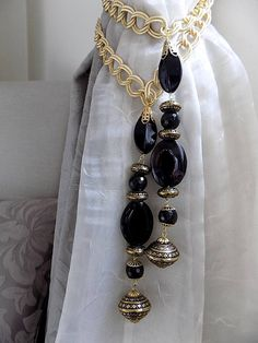 SET of 2 decorative tiebacks precious black onix with golden salon marocain Curtain Tie Backs Diy, Curtain Ties, Curtain Holder, Beaded Curtains, Glam Room, Flower Pillow, Curtain Designs, Diy Arts And Crafts, Bathroom Styling