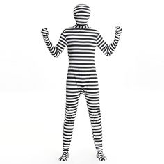 Prisoner Cosplay Costume Black And White Spandex Lycra Full Body Suit Halloween Costumes For Women/Men