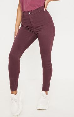 fcea55a030aab Burgundy Disco Skinny Jeans. BurgundySweatpantsSkinny JeansSkinny Fit Jeans RompersWine Red ...