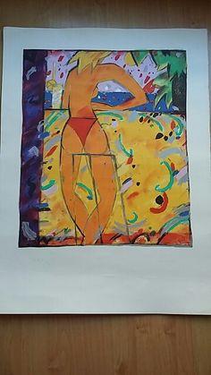Manel Anoro, Barcelona ( 1945 ). Título: Joven tomando una copa frente al mar. Litografía sobre papel firmada a mano. Ejemplar: 106/150. Medidas: 76 x 56 cm. Precio: 60 €.