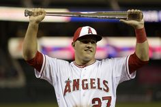 Mike Trout celebrates winning the MVP award at the 2014 All Star Game