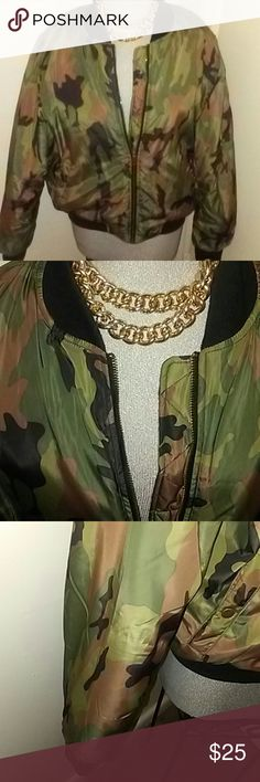 The Bomb Bomber Jacket Fashionistas Turn your Swag On with this latiest Fashion Trend Setter... This Cute Camo Print Jacket is a must-have for Fall !!  # Size 3x but can fit a 2x.. Only worn once, Excellent Condition Jackets & Coats Puffers