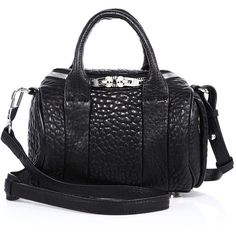 Alexander Wang Rockie Mini Pebbled Leather Duffel Bag (785 CAD) ❤ liked on Polyvore featuring bags, luggage, apparel & accessories and black