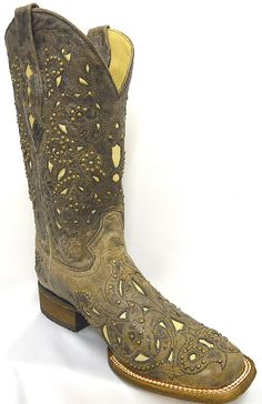WOW!! So cute! Ladies Corral Boots Vintage Brown Crater Bone Inlay With Studs Cowboy Boot Square Toe
