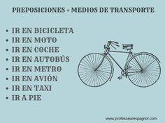 Preposiciones + medios de transporte
