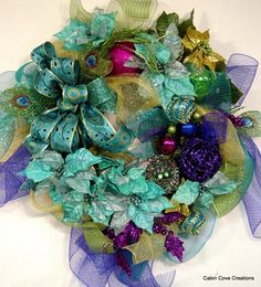 Peacock Christmas door Wreath Holiday EXQUISITE Jewel Tones matching Garland available design by Cabin Cove Creations