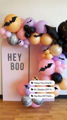 Brunch Party Decorations, Girl Birthday Decorations, Diy Halloween Decorations, Balloon Backdrop, Balloon Garland, Balloon Decorations, Halloween Birthday, Halloween Kids, Halloween Balloons