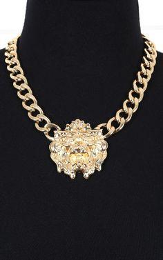 Large Lion Head Necklace GOLD