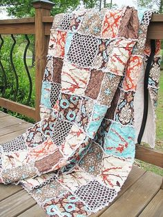 "southerncharmquilts.com ""aviary"" rag quilt w/ 2 shams."