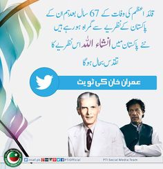 Imran Khan's tweet on the death anniversary of Quaid e Azam Muhammad Ali Jinnah.
