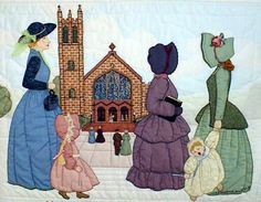"""#10 """"The Bonnet Girls Neighborhood & Town""""   The Church Pattern $13.50    Teressa, Marjorie, Bootsie, and Norma are headed to church dressed in their finest.  Lace, ribbon and embroidery floss will be needed to embellish the bonnets and dresses.   Fabric that resembles Stained glass will be needed for the church windows. Quilting defines the sidewalk to the church and shadow appliqué  is used in the sky and sidewalk."""