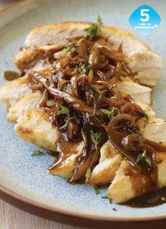 Pollo con Vinagre Balsámico, Cebollas Dulces y Tomillo