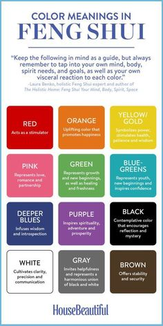 Feng Shui Color Meanings Not sure how certain colors will make you feel? Start with this Feng Shui cheat sheet. Cores Feng Shui, Casa Feng Shui, Feng Shui Studio, Feng Shui Desk, Feng Shui Wall Art, Feng Shui Guide, Feng Shui Chart, Feng Shui Basics, Feng Shui Symbols