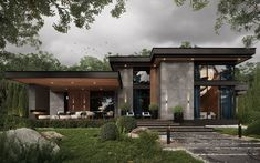 Modern House Facades, Modern Bungalow House, Modern Exterior House Designs, Modern Villa Design, Modern Mansion, Modern Architecture, Dream House Interior, Luxury Homes Dream Houses, Dream House Plans
