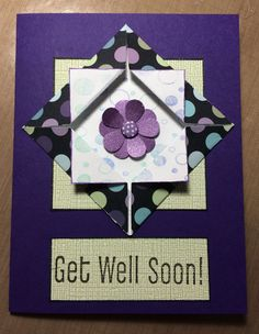 Get well card with origami shadow box