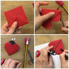 How to make an origami bookmark ladybug. Ladybird Crafts for Kids. Bookmark Craft, Diy Bookmarks, Corner Bookmarks, Origami Bookmark, Bookmark Ideas, Origami Star Box, Origami Love, Origami Design, Origami Art