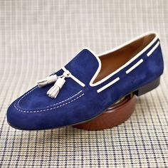 Persona Blue Suede Tassle Loafers  www.theshoesnobblog.com
