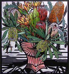 Gail Kellett - Proteaceae Deco- linocut print