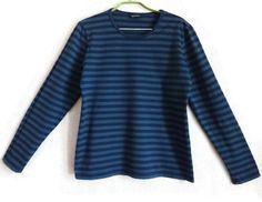 MARIMEKKO Blue Striped Shirt Nautical Top Long Sleeve Cotton Shirt Vintage Women's Clothing Marimekko Clothing L Size Finnish Clothing by Vintageby2sisters on Etsy
