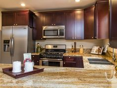 Transitional Kitchen with Shaker Recessed Panel Cabinets, Kashmir Gold Granite Countertop