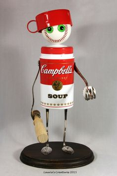 """"""" ~ Original found object/junk art created by Laurie Schnurer in You can unscrew the thermos lid to store items inside. Recycled Robot, Recycled Art, Repurposed, Found Object Art, Found Art, Tin Can Crafts, Metal Crafts, Steampunk Dolls, Tin Can Art"""