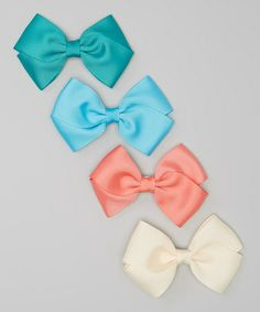 Love this Cream Ribbon Bow Clip Set by My Sunshine Shoppe on #zulily! #zulilyfinds