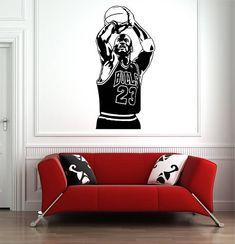 21177b8986d Michael Jordan 23 Bulls NBA Wall Art Decal Basketball Sport Vinyl Sticker  Home Bedroom Decor Nursery Mural