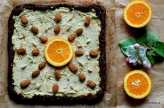 raw vegan nuts and orange cake with a hint of chocolate
