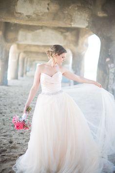 peach wedding dress | dream wedding dress ideas