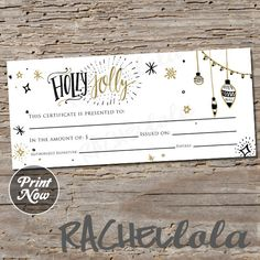 Christmas Holly Jolly Gift Certificate Printable Instant Download Template