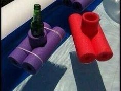 use pool noodles to make drink holders for your pool
