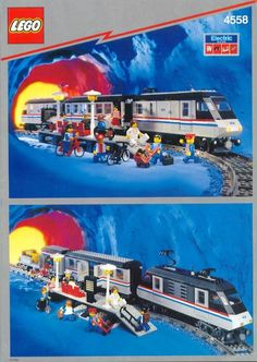 LEGO Building Instructions Set Number 4558 Metroliner - Thousands of complete step-by-step free LEGO instructions. Lego City Train, Lego Trains, Lego Boxes, Classic Lego, Lego Display, Free Lego, Lego System, Vintage Lego, Rolling Stock