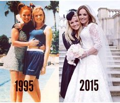 Ginger Spice and Baby Spice, then and now (Spice Girls Net) Ginger Spice Girl, Union Jack Dress, Emma Bunton, Baby Spice, Geri Halliwell, Girl Friendship, Natural Blondes, Girls Rules, Girls World