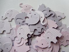 Purple Elephant Die Cuts - Table Confetti - Purple Baby Shower Decoration - Paper elephants Wedding decoration
