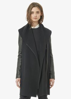 Vince - Leather Sleeve Shawl Collar Coat www.vince.com $359.00