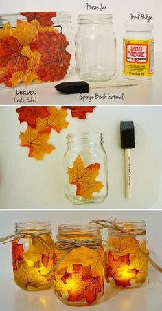 During Thanksgiving, both kids and adults need to make some Thanksgiving crafts as decoration projects. These Thanksgiving crafts are suitable for any time during the festival. The best idea is to make your own Thanksgiving crafts as gifts for your r Mason Jar Candle Holders, Mason Jar Candles, Mason Jar Crafts, Fall Candle Centerpieces, Wedding Centerpieces, Fall Candles, Candle Lanterns, Pots Mason, Fall Mason Jars