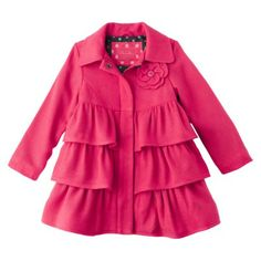 A  cute little toddler girls coat lined with a fun polka dot print, set in stores now and on target.com! Cherokee Infant Toddler Girls Ruffled Wool Peacoat