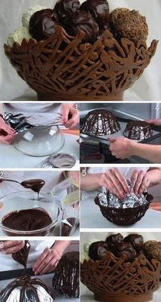 [orginial_title] – Oya Kuratmer How To Make Chocolate Balloon Bowls. How To Make Chocolate Balloon Bowls. Chocolate Work, Chocolate Bowls, Easter Chocolate, Chocolate Recipes, Chocolate Baskets, Cake Chocolate, Decoration Patisserie, Food Decoration, Basket Decoration