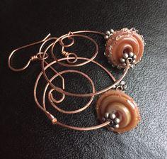 Copper lamp work hoop earrings by Iambendingwire on Etsy https://www.etsy.com/listing/244747339/copper-lamp-work-hoop-earrings