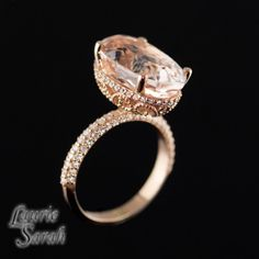 7 carat Morganite Engagement Ring with Diamond Halo and Scroll Detail in 14kt Rose Gold - Celebrity Inspired Ring - LS2865
