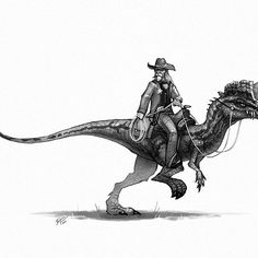 The sheriff keeps everyone in check. #dilophosaurus #sheriff #oldwest #cowboy…
