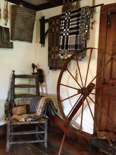 Spinning wheel and woven coverlets ...~♥~